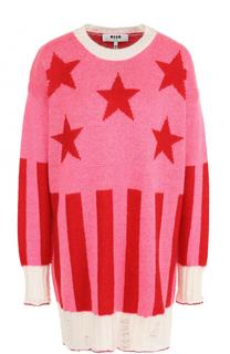 Удлиненный пуловер с круглым вырезом и принтом MSGM