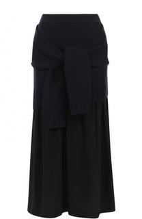 Шелковая юбка-миди с декоративной отделкой Joseph