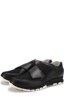 Кожаные кроссовки без шнуровки с текстильными вставками Lanvin