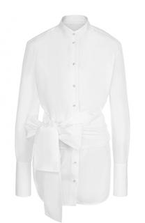 Хлопковая блуза с воротником-стойкой и поясом Victoria by Victoria Beckham