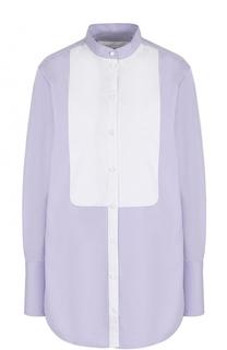 Хлопковая блуза свободного кроя с воротником-стойкой Victoria by Victoria Beckham