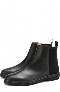 Кожаные ботинки с текстильной отделкой Sergio Rossi