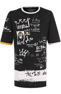 Удлиненная хлопковая футболка с принтом Dolce & Gabbana