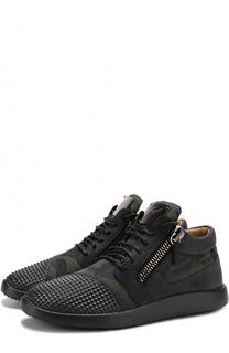 Комбинированные кроссовки Runner с камуфляжным принтом Giuseppe Zanotti Design