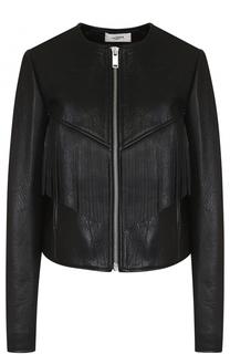 Кожаная куртка с вышивкой на спинке и бахромой Isabel Marant Etoile