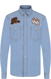 Джинсовая рубашка на кнопках с аппликациями Just Cavalli