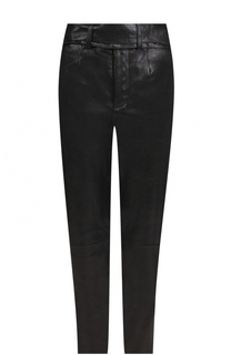 Укороченные кожаные брюки прямого кроя Saint Laurent