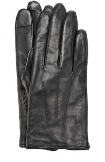 Кожаные перчатки с шерстяной подкладкой HUGO