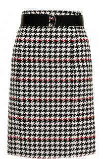 Мини-юбка с принтом гусиная лапка и поясом BOSS