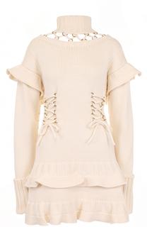 Шерстяное мини-платье с оборками и шнуровкой Alexander McQueen