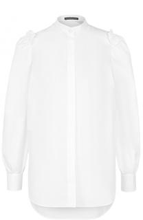 Хлопковая блуза с воротником-стойкой Alexander McQueen
