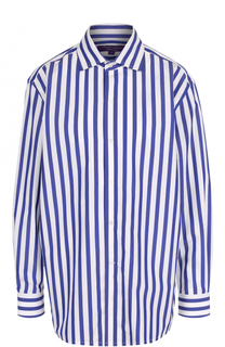 Хлопковая блуза свободного кроя в полоску Ralph Lauren