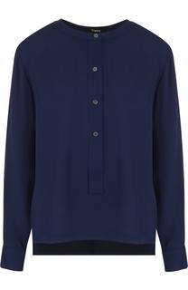 Шелковая блуза с воротником-стойкой Theory