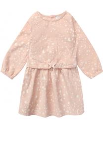 Хлопковое мини-платье с принтом и поясом Stella McCartney