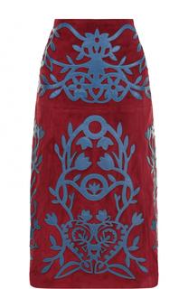 Замшевая юбка-миди с кожаной отделкой REDVALENTINO