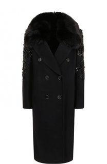 Двубортное пальто с отделкой из меха лисы и вышивкой Elie Saab