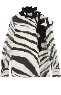 Шелковая блуза с принтом и оборками Lanvin