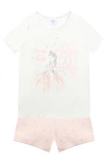 Хлопковая пижама из шорт и футболки Sanetta