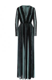 Платье-макси с бархатной отделкой и поясом Elie Saab