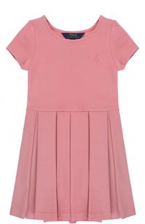 Хлопковое мини-платье с защипами Polo Ralph Lauren
