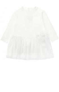 Хлопковое платье с кружевной отделкой и бантом Aletta