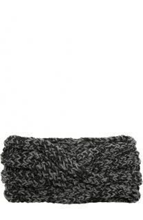Шерстяная повязка фактурной вязки с отделкой металлизированной нитью 0711