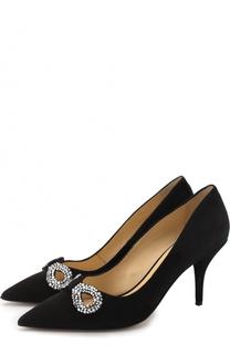 Замшевые туфли с отделкой кристаллами Escada