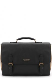 Кожаный портфель с клапаном и текстильными вставками Burberry