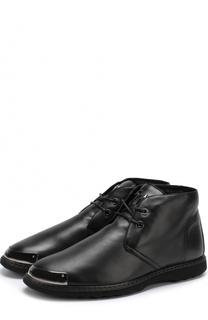 Кожаные ботинки на шнуровке с внутренней меховой отделкой Giuseppe Zanotti Design