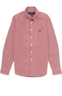 Хлопковая рубашка в мелкую клетку с воротником button down Polo Ralph Lauren