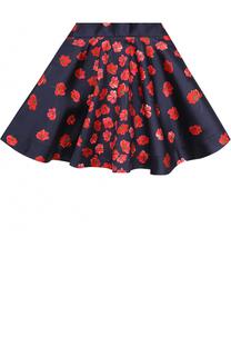 Мини-юбка из хлопка и шелка с принтом Oscar de la Renta