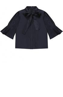 Шелковая блуза с воротником аскот Oscar de la Renta