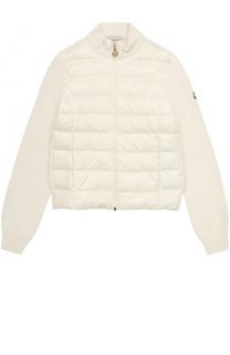 Вязаная куртка со стеганой пуховой вставкой Moncler Enfant
