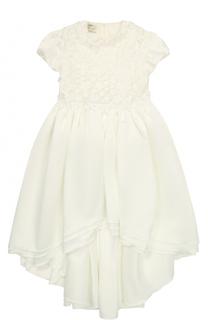 Платье с удлиненной спинкой и цветочной аппликацией Caf
