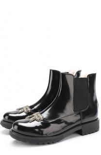 Лаковые ботинки с аппликацией из страз и эластичной вставкой No. 21