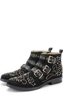 Замшевые ботинки с заклепками и ремешками Ermanno Scervino