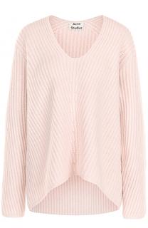 Шерстяной пуловер фактурной вязки с V-образным вырезом Acne Studios