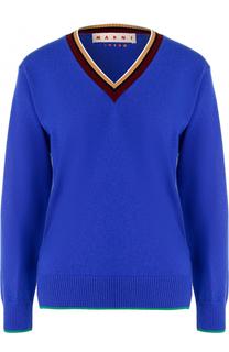 Кашемировый пуловер с V-образным вырезом Marni