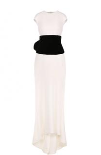 Шелковое платье-макси с подолом Oscar de la Renta