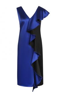 Приталенное платье с V-образным вырезом и оборками Diane Von Furstenberg