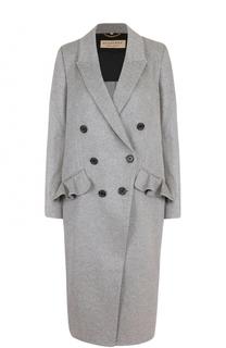 Пальто из смеси шерсти и кашемира с оборками Burberry