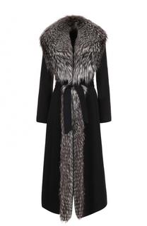 Шерстяное пальто с отделкой из меха лисы Simonetta Ravizza
