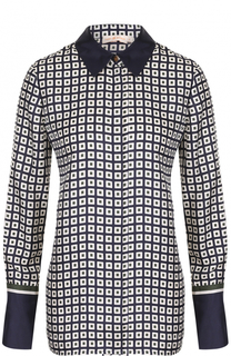 Шелковая блуза прямого кроя с принтом Tory Burch