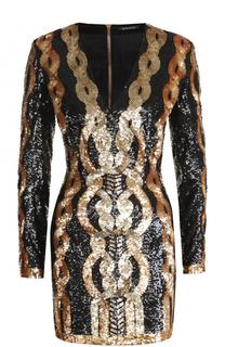 Приталенное мини-платье с пайетками Balmain