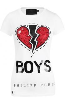 Хлопковая футболка с принтом и стразами Philipp Plein