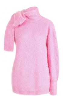 Вязаный свитер с бантом асимметричного кроя No. 21