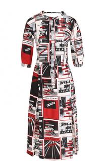 Шелковое платье с вырезом на спинке и принтом Sonia Rykiel