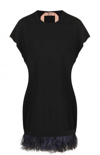 Шерстяное мини-платье с перьевой отделкой No. 21