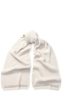 Шерстяной шарф фактурной вязки с декоративной отделкой Blugirl