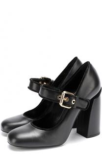 Кожаные туфли с ремешком на массивном каблуке Baldan